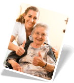caregiver and an adult woman doing thumbs up